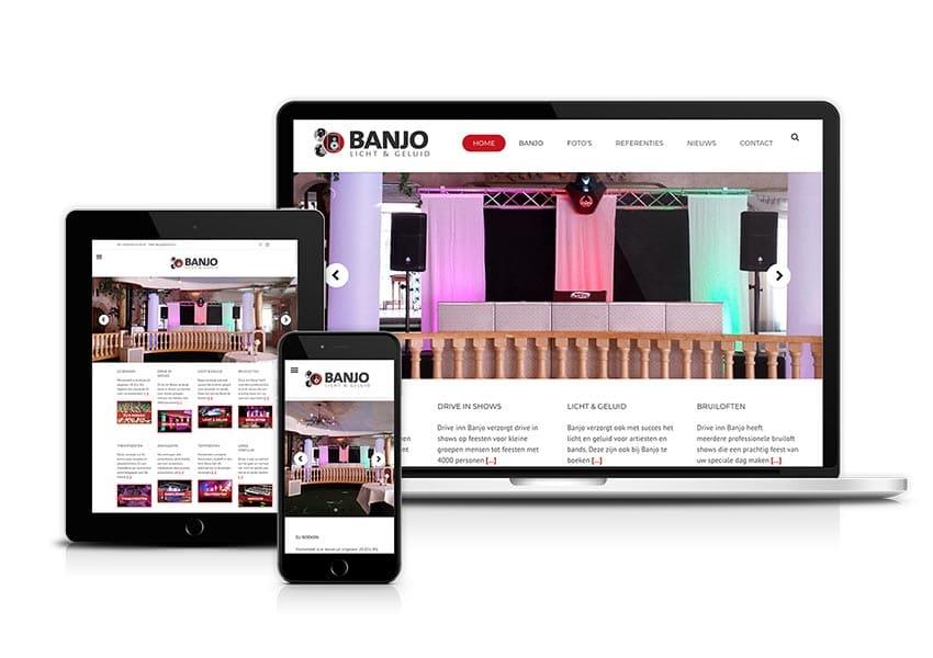 Webdesign | Website ontwerp | Banjo licht en geluid